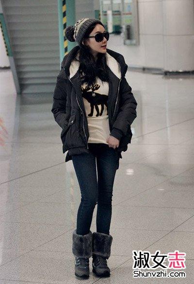 冬天韩国女生棉衣搭配显瘦无敌